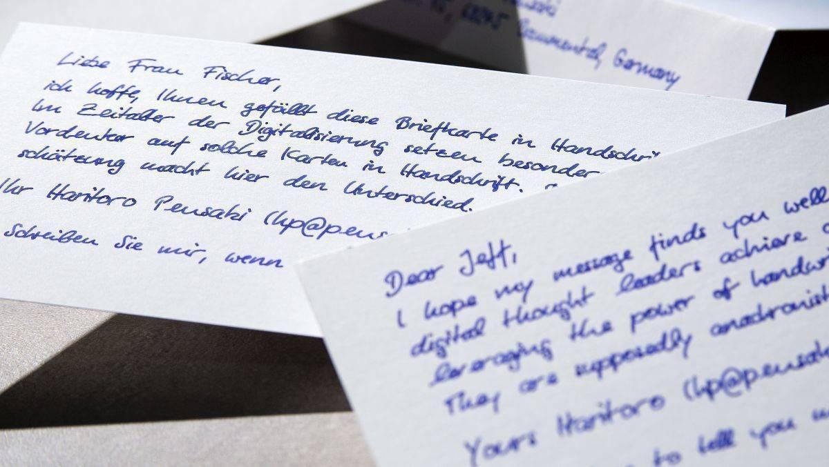 Vom Roboter geschriebene Briefe